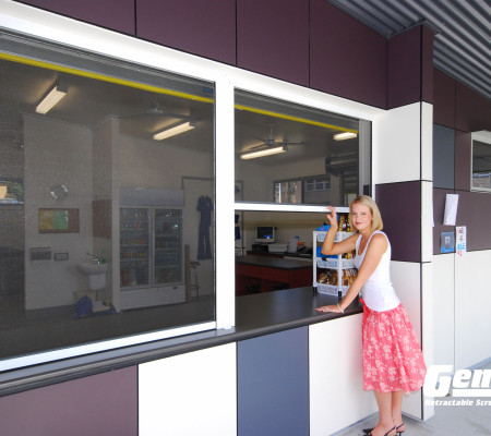 Retractable Cascade Window Screens Work on Commercial Pass Throughs