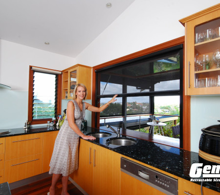 Retractable Cascade Window Screens work on kitchen to patio pass throughs