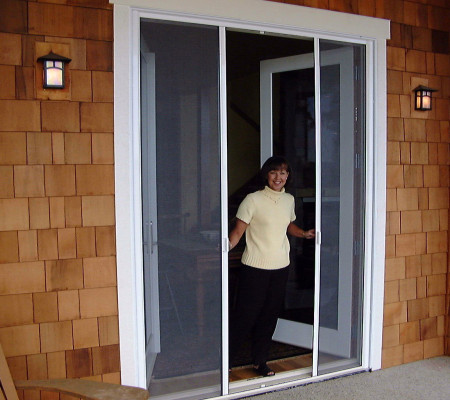 Milano 200 Retractable Screen Doors Look Great on Shake Exteriors