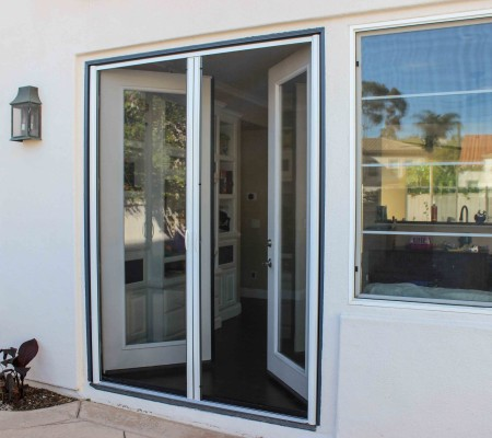 Milano 200 Retractable Screen Doors Work With In-swing French Doors